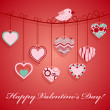 Valentine's day hanging pink heart. — Stock Vector