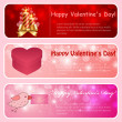 Valentine horizontal banners. Pink, red. — Stockvectorbeeld