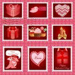 Valentine&#039;s day pink postage set. - Stock Vector