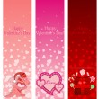 Valentine's day pink vertical banners. — Stock Vector