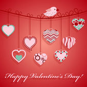 Valentine's day hanging pink heart. — Vector de stock