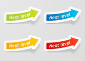 Vector next level message on arrow stickers set. — Stock Vector