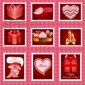 Valentine's day pink postage set. — Stock Vector