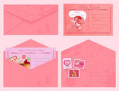 Valentine's day vintage postcards and envelopes. — Stock Vector