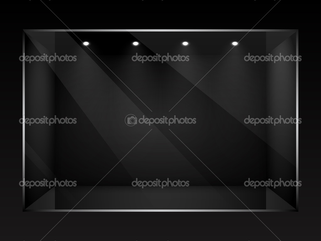 Dark empty show window of shop. Vector illustration. — Stock Vector #9466185