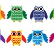 Colorful owls — Stockvektor