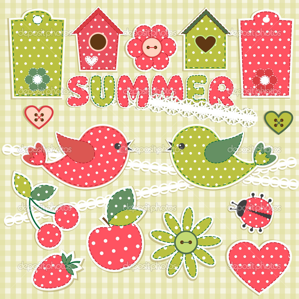 Summer.Vector scrapbook elements — Stock Vector #10170413