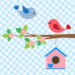 Couple of birds and birdhouse — Imagens vectoriais em stock