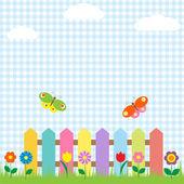 Kleurrijke hek met bloemen en vlinders — Stockvector
