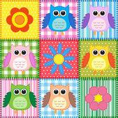 Baykuşlar ile patchwork arka plan — Stok Vektör