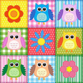 Patchwork background with owls — Stok Vektör