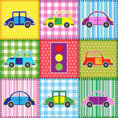 Patchwork with cartoon cars — Vecteur