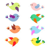 Feder-vögel — Stockvektor