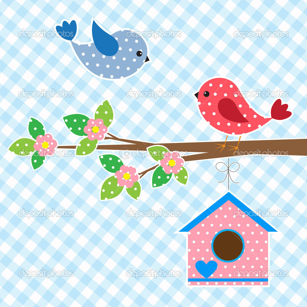 Couple of birds and birdhouse.Vector card design — Stock Vector #10205103