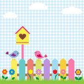 Vogels en birdhouse — Stockvector
