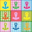 Patchwork with colorful anchors — Stock Vector