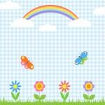 Flowers,butterflies and rainbow — Stock Vector