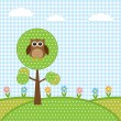 Owl on tree and flowers - Imagen vectorial