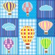 图库矢量图片: Patchwork with hot air balloons