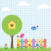 Aves y pajarera en árbol — Vector de stock