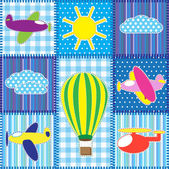 Mozaiki z kolorowy samolot — Wektor stockowy