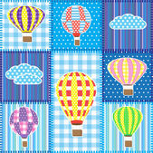 Patchwork with hot air balloons — Cтоковый вектор