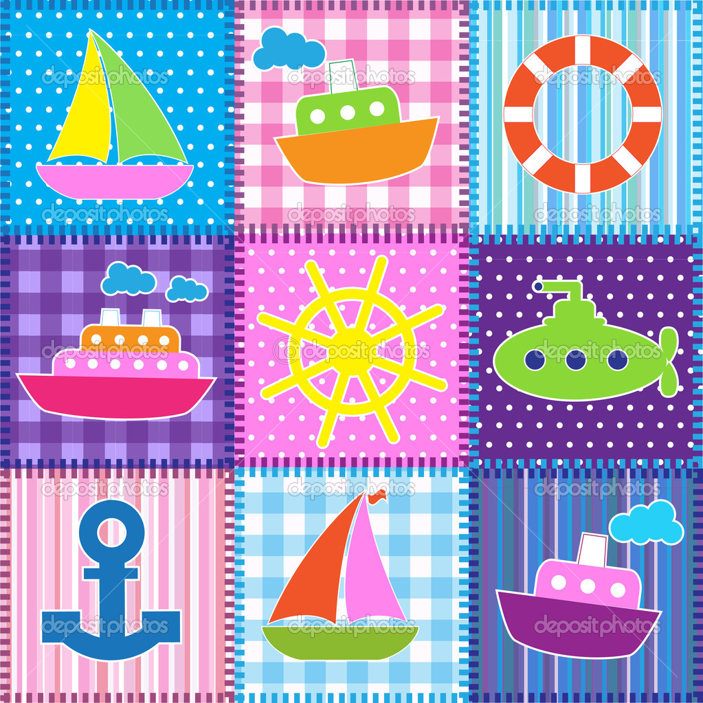 Patchwork in marine style.Seamless baby background — Stock Vector #10495703