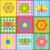 Patchwork with butterflies and flowers — Stok Vektör