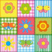 Remiendo con mariposas y flores — Vector de stock