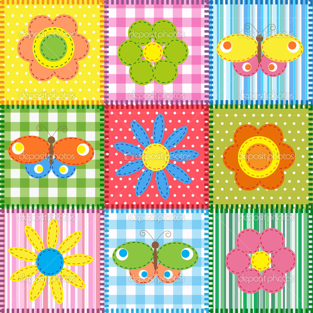 Patchwork with butterflies and flowers. Baby seamless background — Stock Vector #10528471