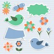 Bubbles speech, birds — Imagen vectorial