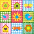 Patchwork with birdhouse — Vector de stock #10728735