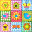 Patchwork with birdhouse — Stock Vector #10728735