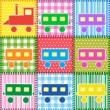 Patchwork with colorful train — Stok Vektör