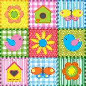 Patchwork mit vogelhaus — Stockvektor