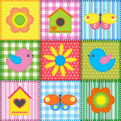 Patchwork with birdhouse — Vector de stock