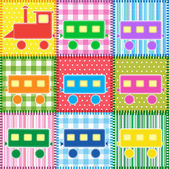 Patchwork with colorful train — Vettoriale Stock