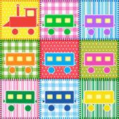 カラフルな列車のパッチワーク — ストックベクタ