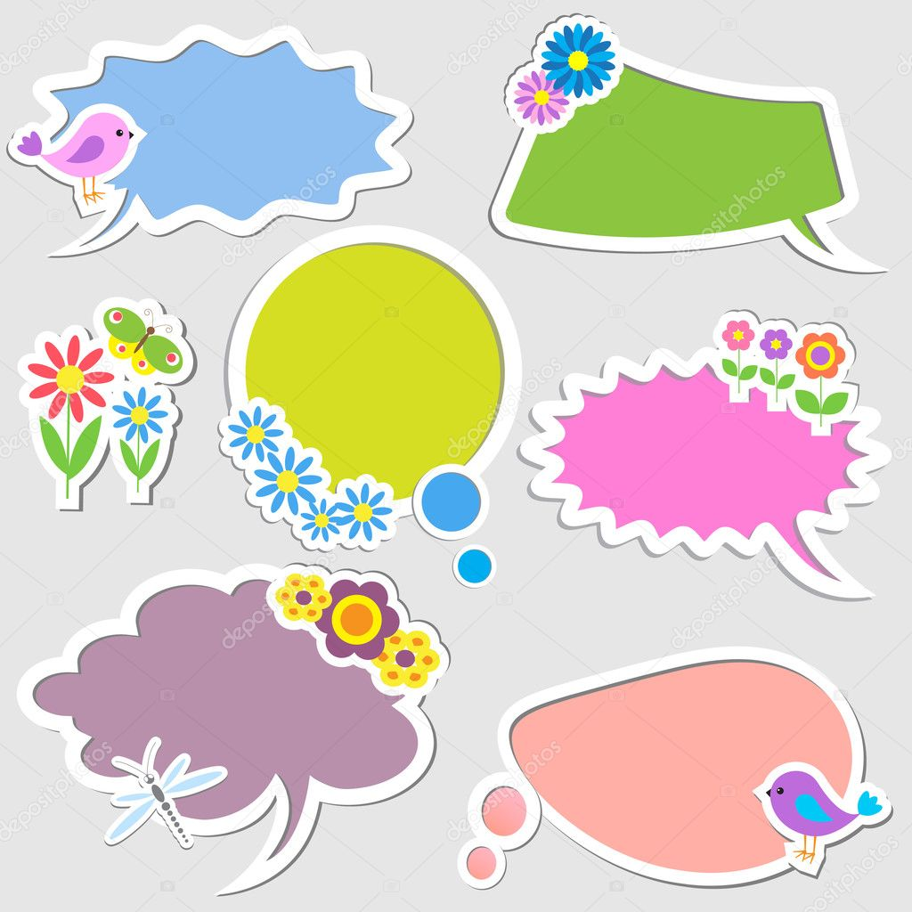Speech bubbles with birds and flowers. Vector set — Stock Vector #10728743
