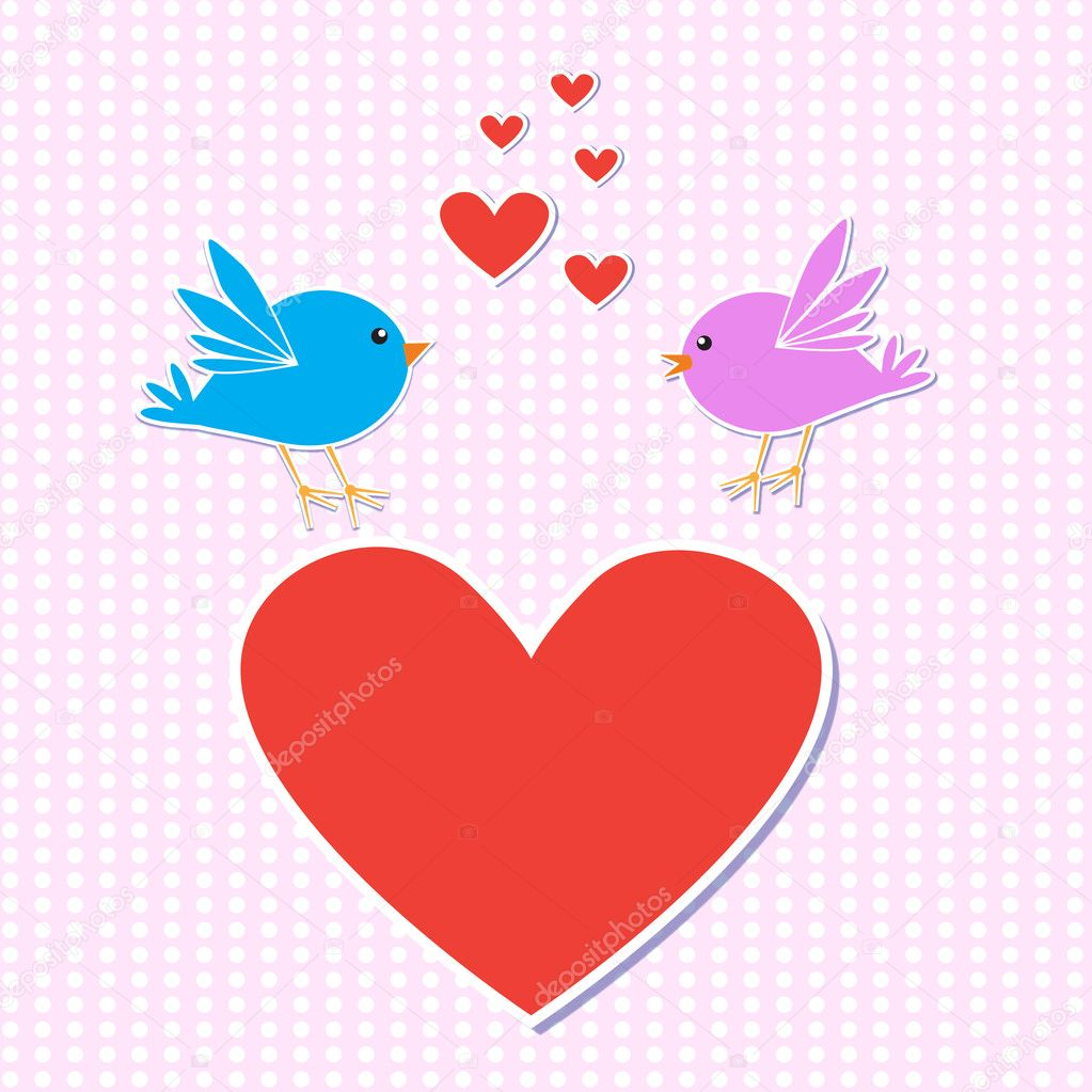 Template romantic card.Birds in love.vector illustration eps10 — Stock Vector #7980621