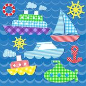морской транспорт наклейки — Cтоковый вектор