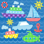 Sea transport stickers — Stockvektor