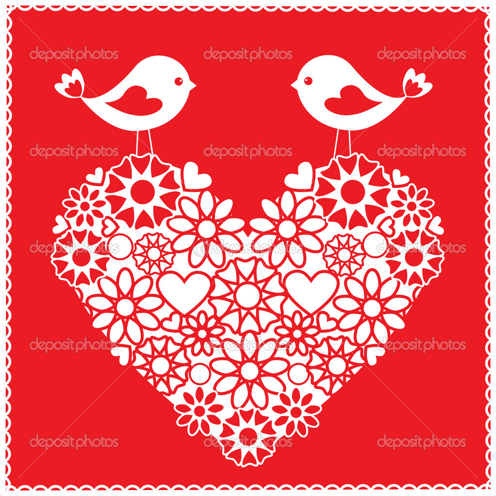 Greeting card with birds for Valentine's day — Stock Vector #8080368