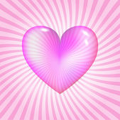 Pink glassy heart — Vector de stock