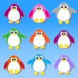 Colorful penguins stickers — Imagen vectorial