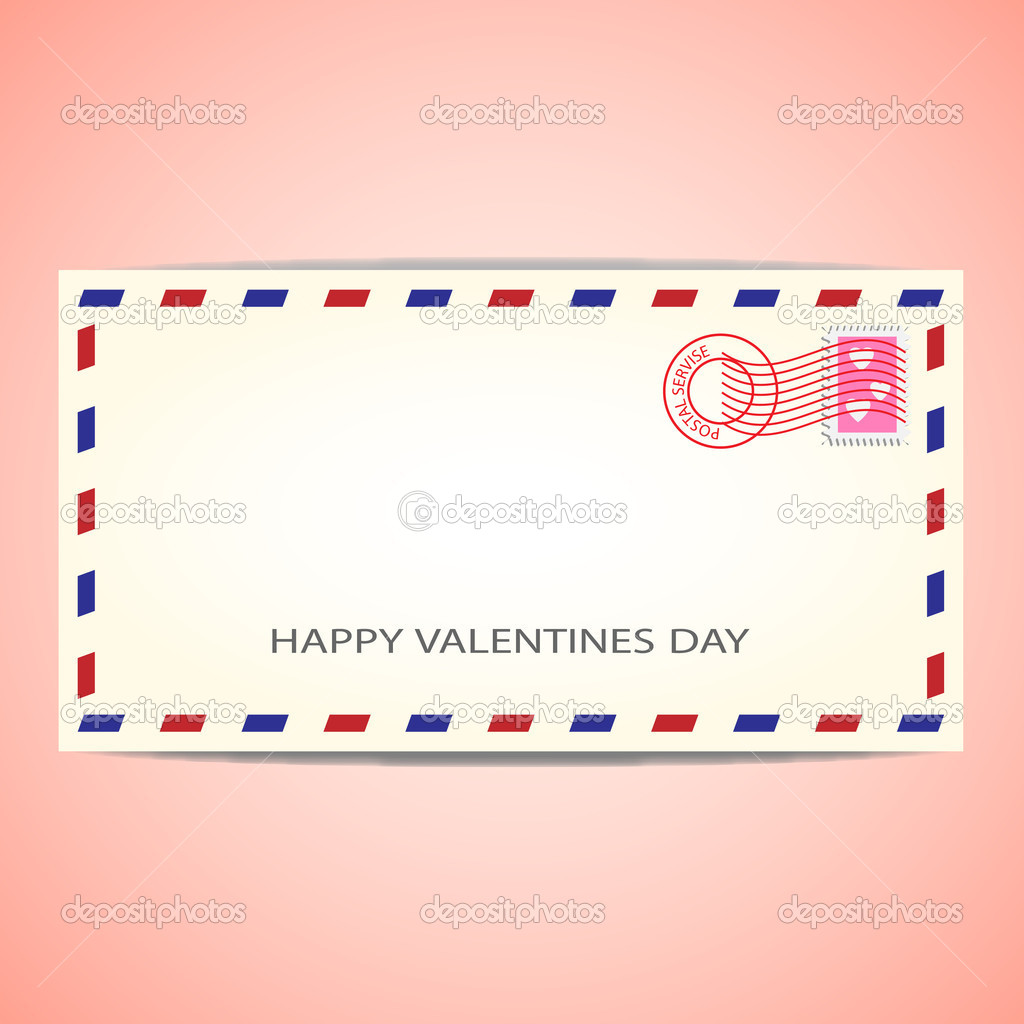 Air mail envelope for Valentine's day.Vector illustration — Stok Vektör #8327326