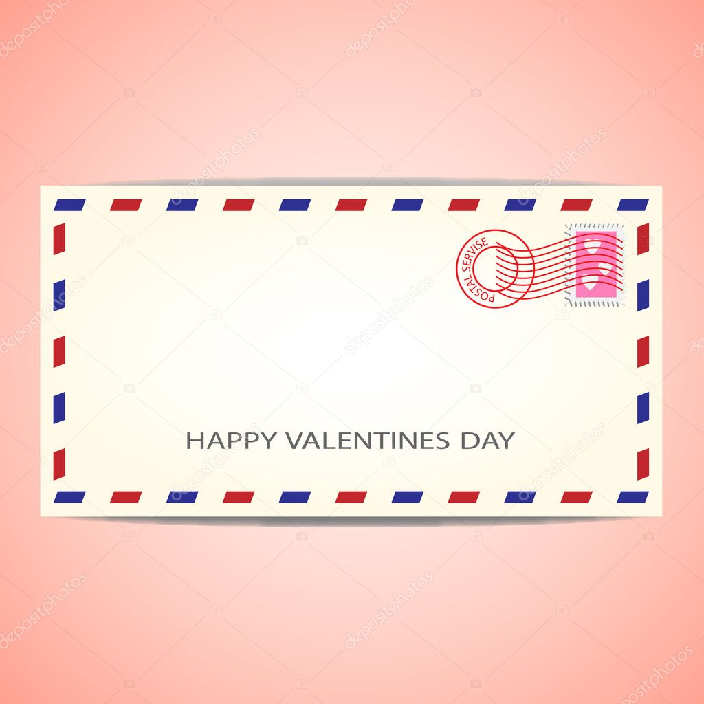 Air mail envelope for Valentine's day.Vector illustration — Imagens vectoriais em stock #8327326