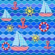 Seamless sea pattern - Vektorgrafik