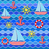 Seamless sea pattern — Stok Vektör