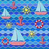 シームレスな海パターン — ストックベクタ